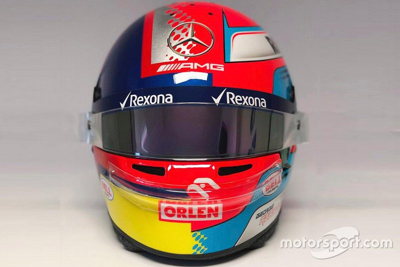 El casco de George Russell, Williams FW42