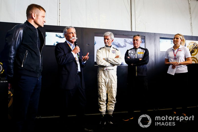 Chase Carey, Damon Hill y Mario Isola, Pirelli Motorsport