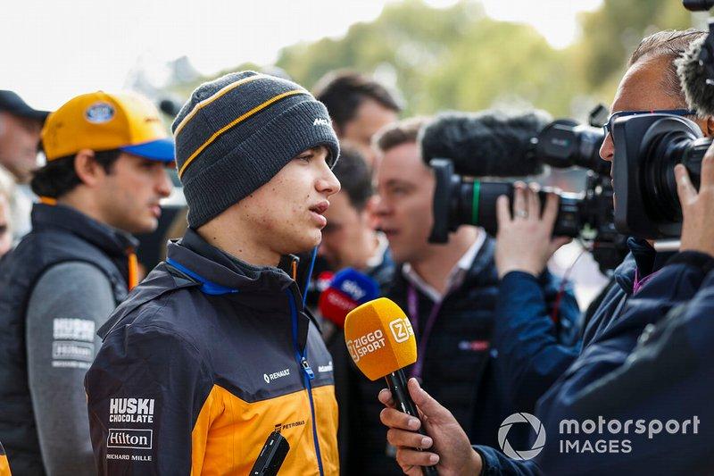 Lando Norris, McLaren speaks with the media
