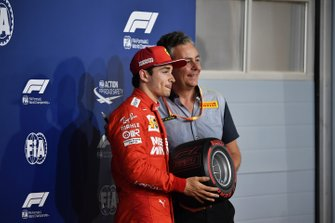 Charles Leclerc, Ferrari, receives the Pirelli Pole Position Award from Mario Isola, Racing Manager, Pirelli Motorsport