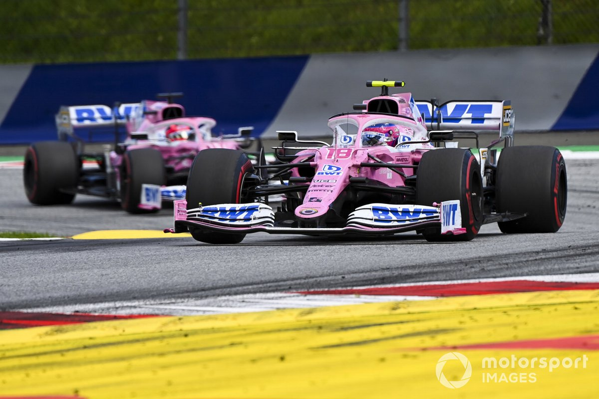 Lance Stroll, Racing Point RP20 e Sergio Perez, Racing Point RP20