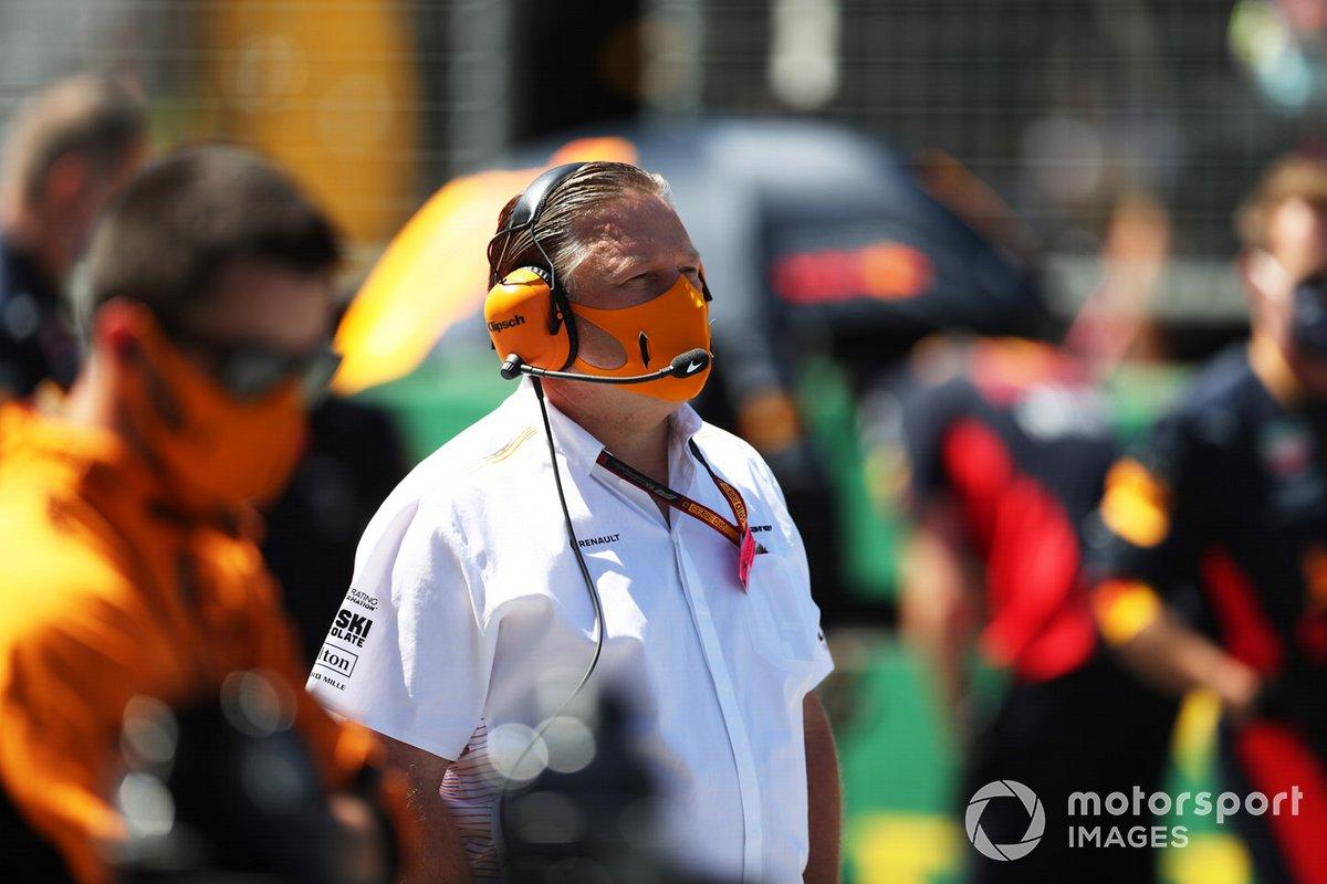 Zak Brown, Executive Director, McLaren, on the grid