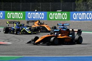 Sophia Floersch, Campos Racing, leads Enaam Ahmed, Carlin, and Alessio Deledda, Campos Racing