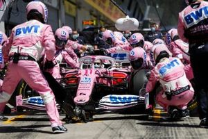 Pit Stop practice with the car of Sergio Perez, Racing Point RP20