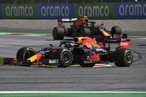 Max Verstappen, Red Bull Racing RB16, leads Alex Albon, Red Bull Racing RB16