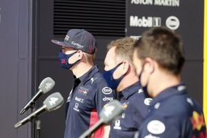 Max Verstappen, Red Bull Racing, Christian Horner, Team Principal, Red Bull Racing and Alex Albon, Red Bull Racing speaks to the media