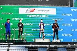 Oscar Piastri, Prema Racing, Race winner David Beckmann, Trident and Dennis Hauger, Hitech Grand Prix on the podium