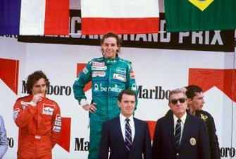 Gerhard Berger, Benetton, Alain Prost, McLaren, Ayrton Senna, Lotus, Jean-Marie Balestre, presidente de la FIA