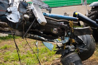 The crashed car of Fernando Alonso, McLaren MP4-31
