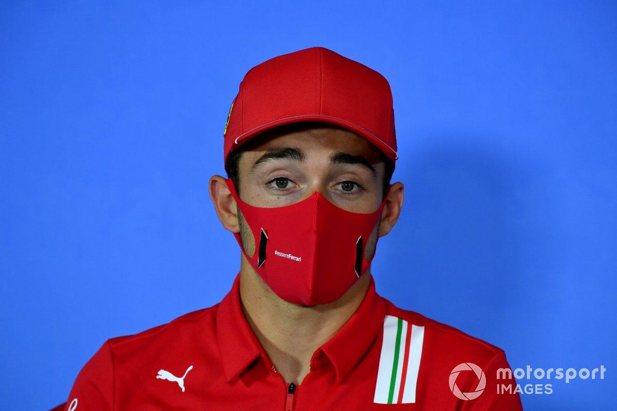 Charles Leclerc, Ferrari durante la conferenza stampa