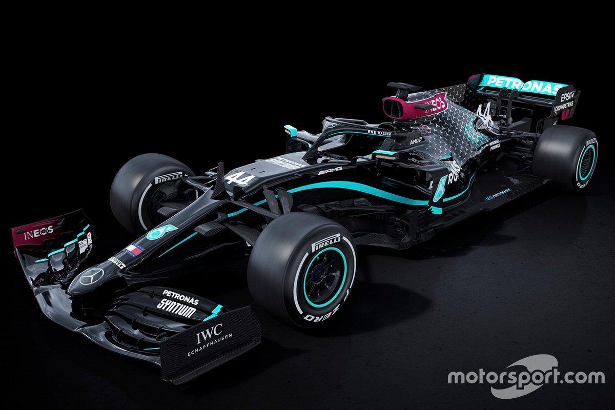 Decoración del Mercedes F1 W11 de negro para luchar contra el racismo