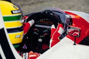 The steering wheel and dash in Ayrton Senna's McLaren MP4/6 Honda