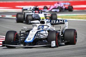 Nicholas Latifi, Williams FW43, leads Daniil Kvyat, AlphaTauri AT01, and Sergio Perez, Racing Point RP20