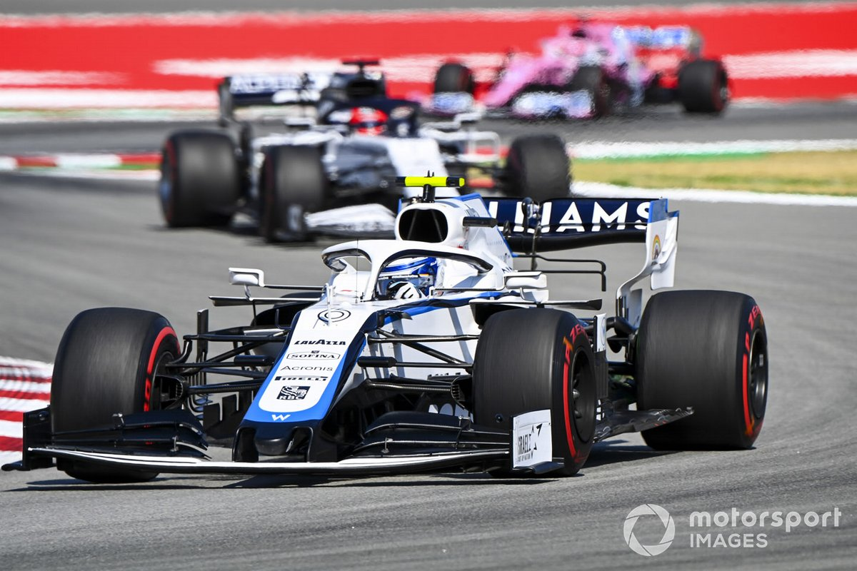 Nicholas Latifi, Williams FW43, leads Daniil Kvyat, AlphaTauri AT01, and Sergio Perez, Racing Point RP20