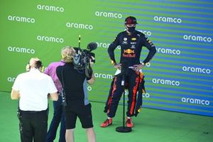 Max Verstappen, Red Bull Racing talks to the media in Parc Ferme