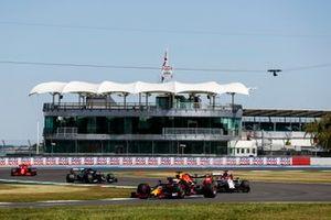 Max Verstappen, Red Bull Racing RB16, Kimi Raikkonen, Alfa Romeo Racing C39, Valtteri Bottas, Mercedes F1 W11, and Charles Leclerc, Ferrari SF1000
