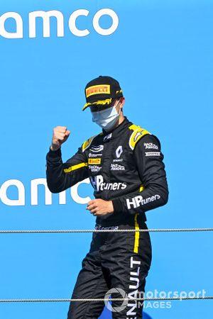 Race Winner Oscar Piastri, Prema Racing Celebrates on the podium