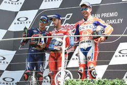 Podium: Maverick Viñales, Yamaha Factory Racing, Andrea Dovizioso, Ducati Team, Danilo Petrucci, Pra