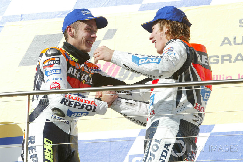 Podium: le vainqueur Valentino Rossi, Repsol Honda Team, troisième place Nicky Hayden, Repsol Honda Team