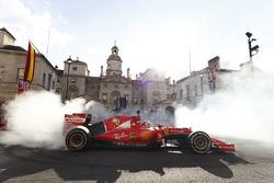 Sebastian Vettel, Ferrari SF70H, does some donuts