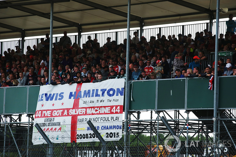 A Lewis Hamilton, Mercedes AMG F1, banner in a grandstand