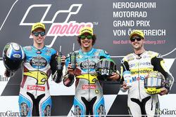 Podium : le deuxième Alex Marquez, Marc VDS, le vainqueur Franco Morbidelli, Marc VDS, le troisième Thomas Luthi, CarXpert Interwetten