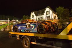The car of #18 Black Falcon Mercedes-AMG GT3: Gabriele Piana, Abdulaziz Al Faisal, Hubert Haupt, Renger van der Zande after the crash