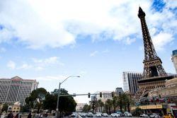 Las Vegas Strip atmosphere, including replica Eiffel Tower at the Paris Las Vegas hotel