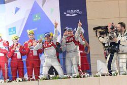 LMP1 Podium: second place #7 Audi Sport Team Joest Audi R18: Marcel Fässler, Andre Lotterer, Benoit Tréluyer