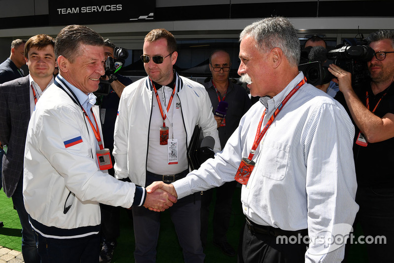 Dmitry Kozak, Deputy Prime Minister of the Russian Federation and Chase Carey, Chief Executive Officer and Executive Chairman of the Formula One Group