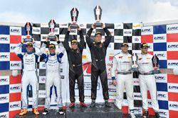 Podium: race winners Daniel Mancinelli, Niccolo Schiro, TR3 Racing, second place Ryan Eversley, Tom Dyer, RealTime Racing, third place Jordan Taylor, Michael Cooper, Cadillac Racing