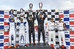 Podium: race winners Daniel Mancinelli, Niccolo Schiro, TR3 Racing, second place Ryan Eversley, Tom Dyer, RealTime Racing, third place Jordan Taylor, Michael Cooper, Cadillac Racing