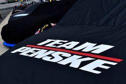 Joey Logano, Team Penske Ford with rain cover