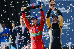Lucas di Grassi, ABT Schaeffler Audi Sport, and Jean-Eric Vergne, Techeetah, celebrate on the podium