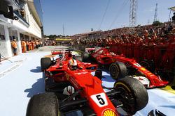 Sebastian Vettel, Ferrari SF70H, Kimi Raikkonen, Ferrari SF70H, stop in parc ferme after finishing o
