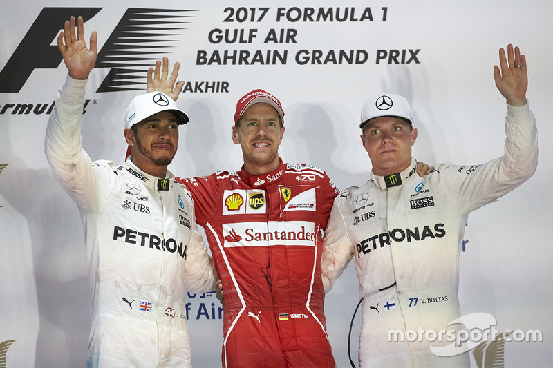 Podio: 1. Sebastian Vettel, 2. Lewis Hamilton, 3. Valtteri Bottas