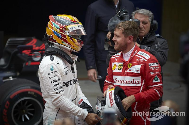 Lewis Hamilton, Mercedes AMG, y Sebastian Vettel, Ferrari