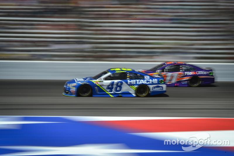 Jimmie Johnson, Hendrick Motorsports, Chevrolet; Denny Hamlin, Joe Gibbs Racing, Toyota