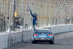 Jimmie Johnson, Hendrick Motorsports Chevrolet, does a burnout after winning