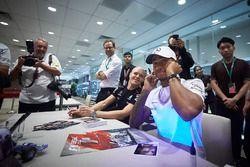 Lewis Hamilton, Mercedes AMG F1, Valtteri Bottas, Mercedes AMG F1, sign autographs for fans