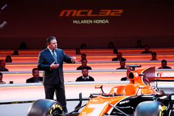 Zak Brown, Executive Director of McLaren Technology Group, on stage at the launch of the McLaren MCL
