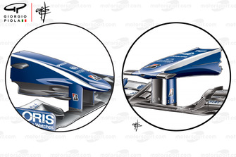 Comparaison du nez de la Williams FW32 (à droite) avec celui de la FW31 (à gauche)