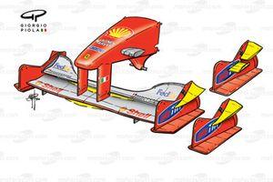 Вариации переднего антикрыла Ferrari F1-2000 (651) 2000 года (Гран При Японии)