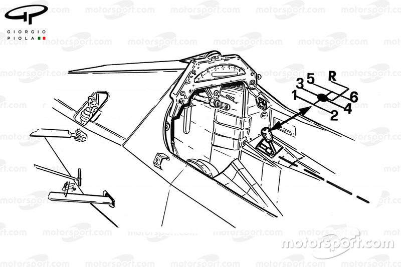 McLaren MP4-5B 1990 cockpit with gear selection detail