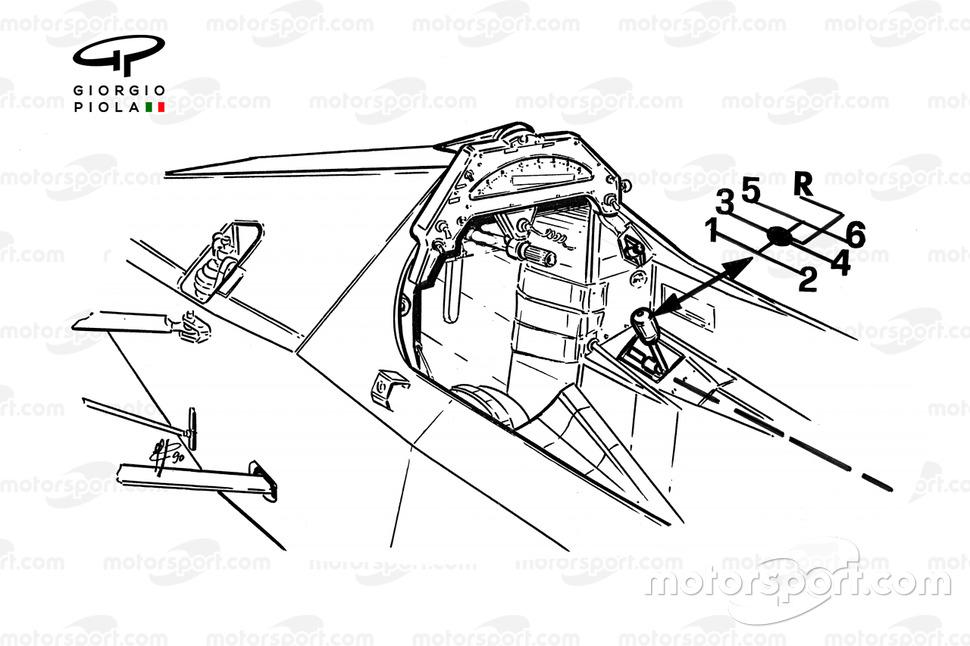 Cockpit del McLaren MP4-5B 1990 con detalle de la caja de cambios.