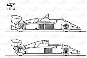 Сравнение Ferrari F1-86 1986 года с автомобилем 156/85 1985 года (вверху)