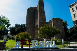 Promotional hashtag in the Old City of Baku