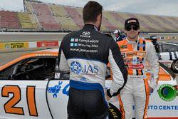 Corey LaJoie, BK Racing Toyota, Ryan Blaney, Wood Brothers Racing Ford