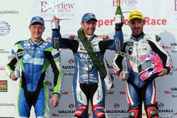 Podium Superstock: Winner Alastair Seeley, BMW, Lee Johnston, BMW, Dean Harrison, Kawasaki