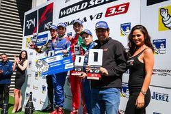 Podium: race winner Matevos Isaakyan, AVF, second place René Binder, Lotus, third place Alfonso Celi